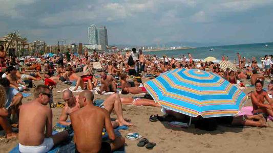 barcelona strandmenschen